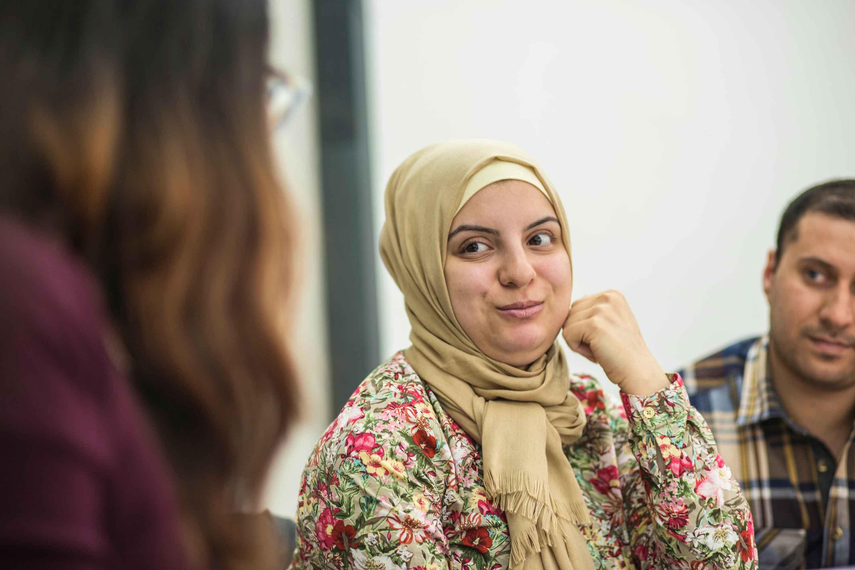 Refugees attending an ESL class at their local resettlement office