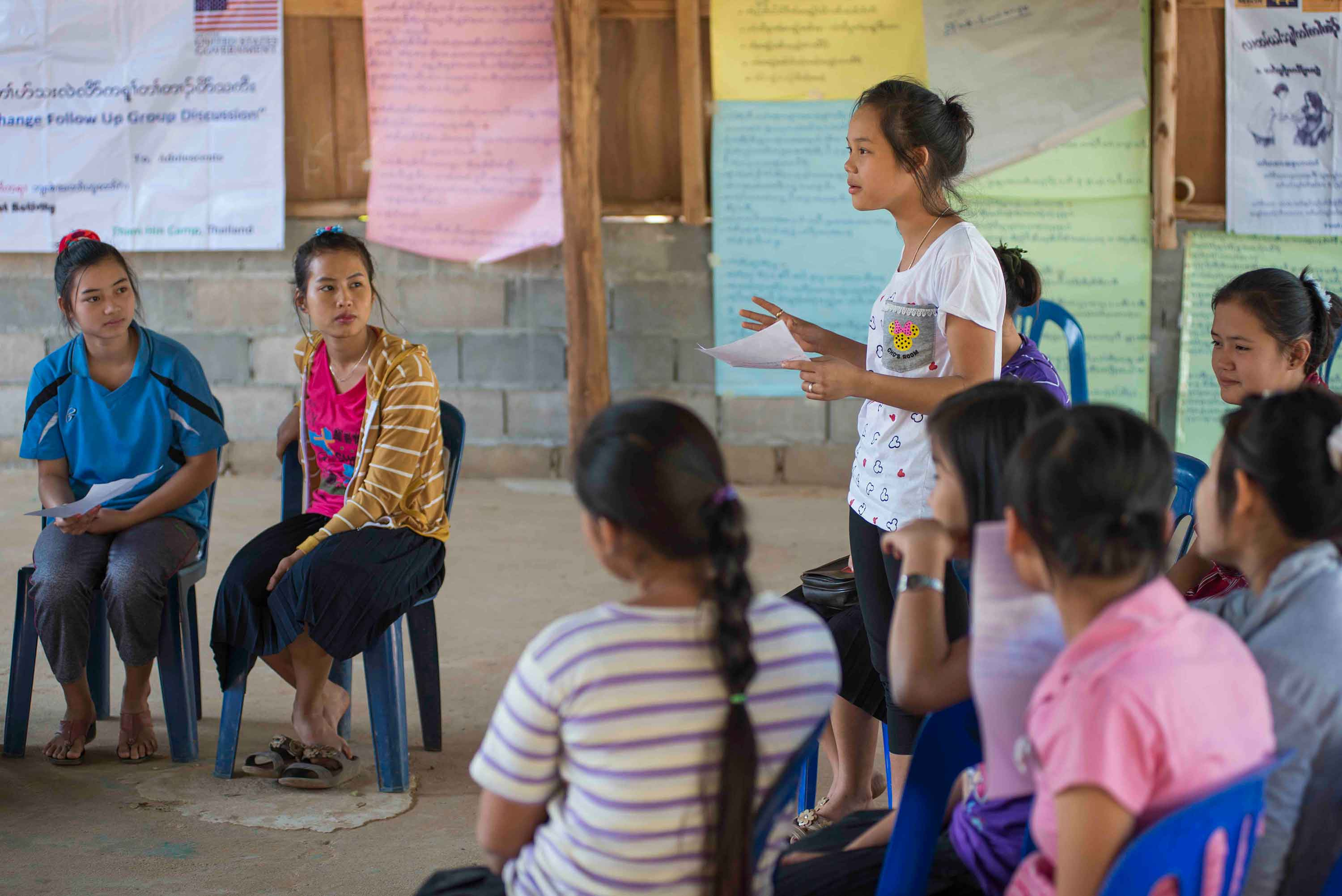 Youth girls attending an IRC cultural education workshop in Thailand