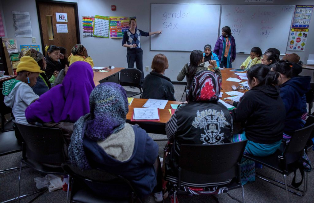 ESL teacher Becki Veal teaches resettled refugees at the IRC in Atlanta