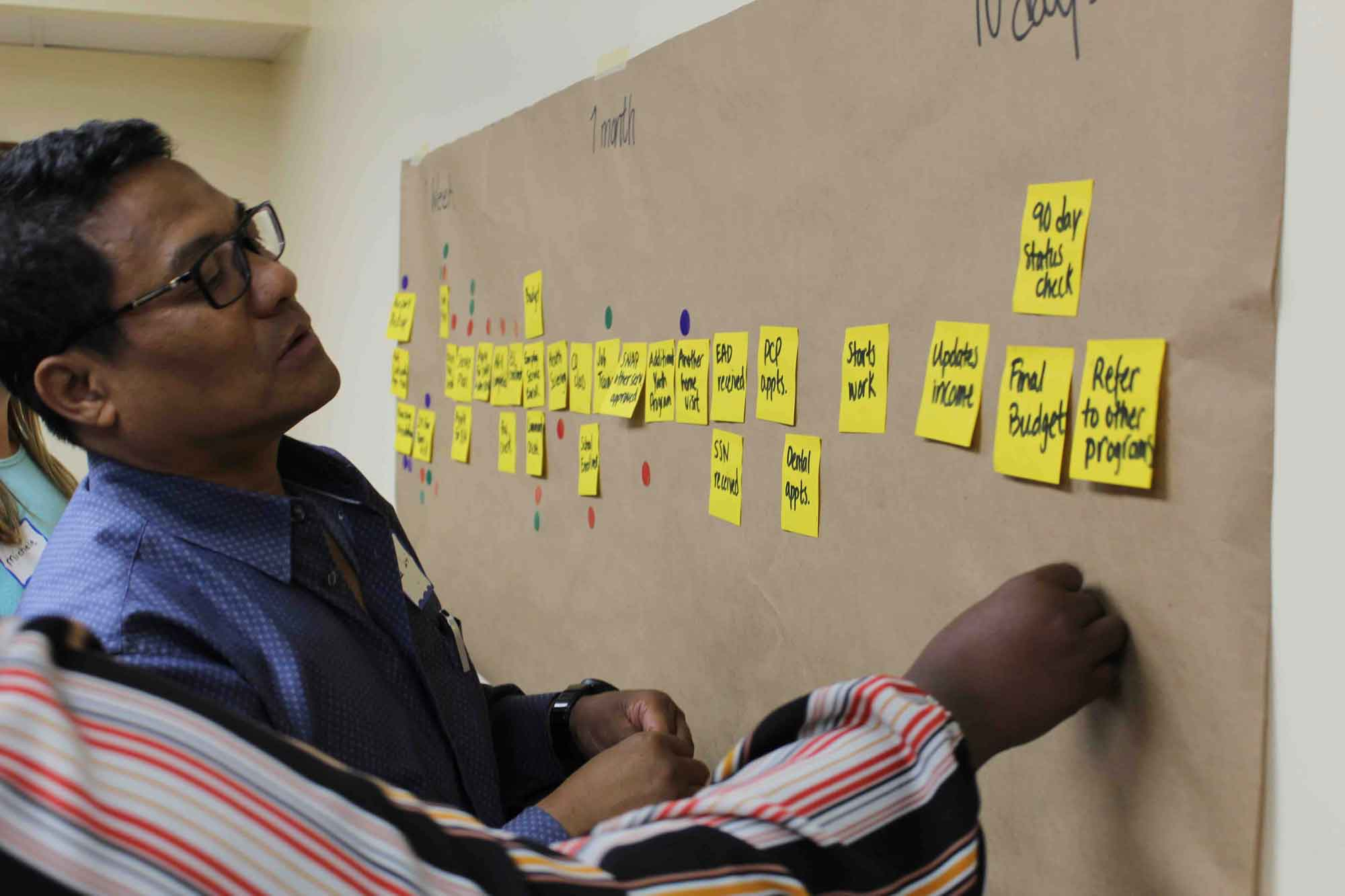 A cultural orientation trainer learning about the refugee resettlement journey at a CORE workshop
