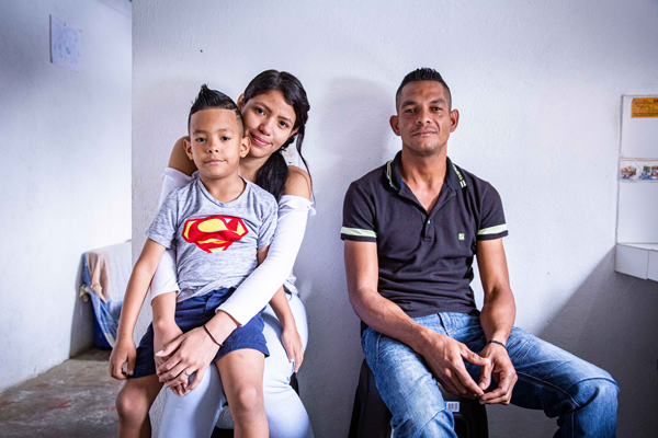 Portrait of a refugee family in Colombia
