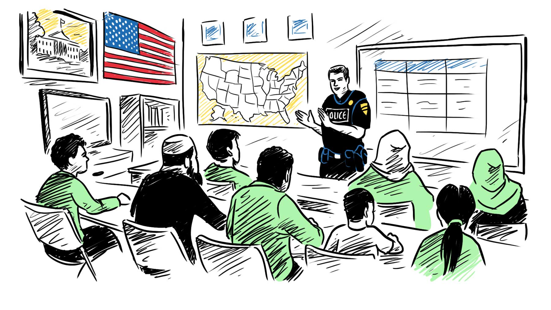 Drawn image of a police officer talking to a class of refugees