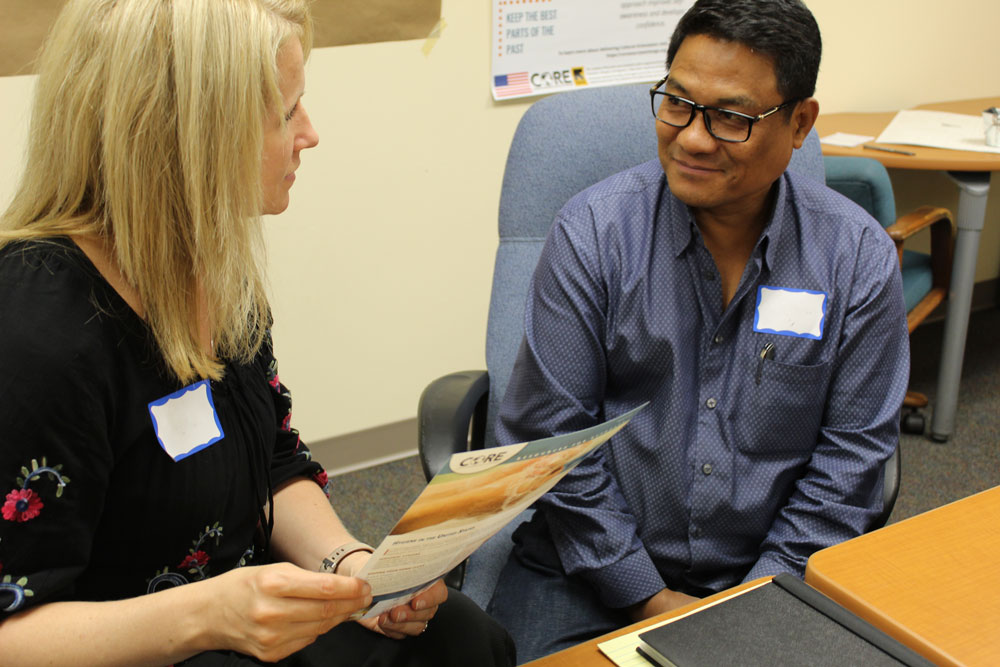 Resettlement staff at the Refugee and Immigrant Services of Archdiocese of Indianapolis practice role playing using CORE resources.