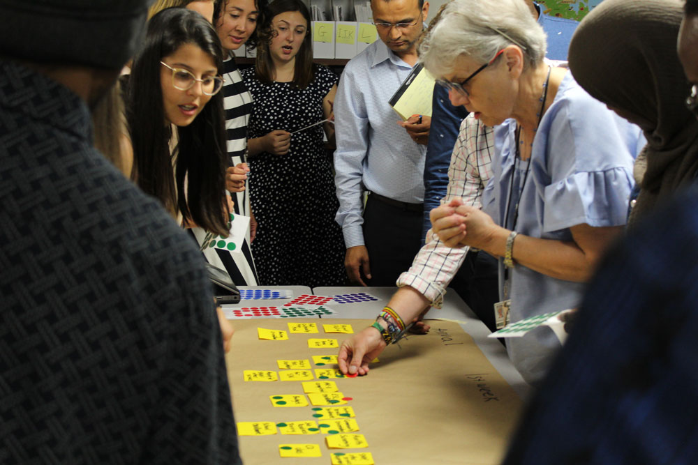 Resettlement staff at the Community Refugee and Immigration Services office in Columbus, Ohio take part in a Cultural Orientation Mapping Activity.
